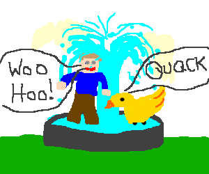 Drawing party pool. Man and a duck