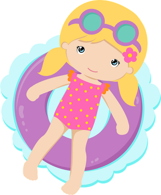 Drawing party pool. Swimming girl clip art