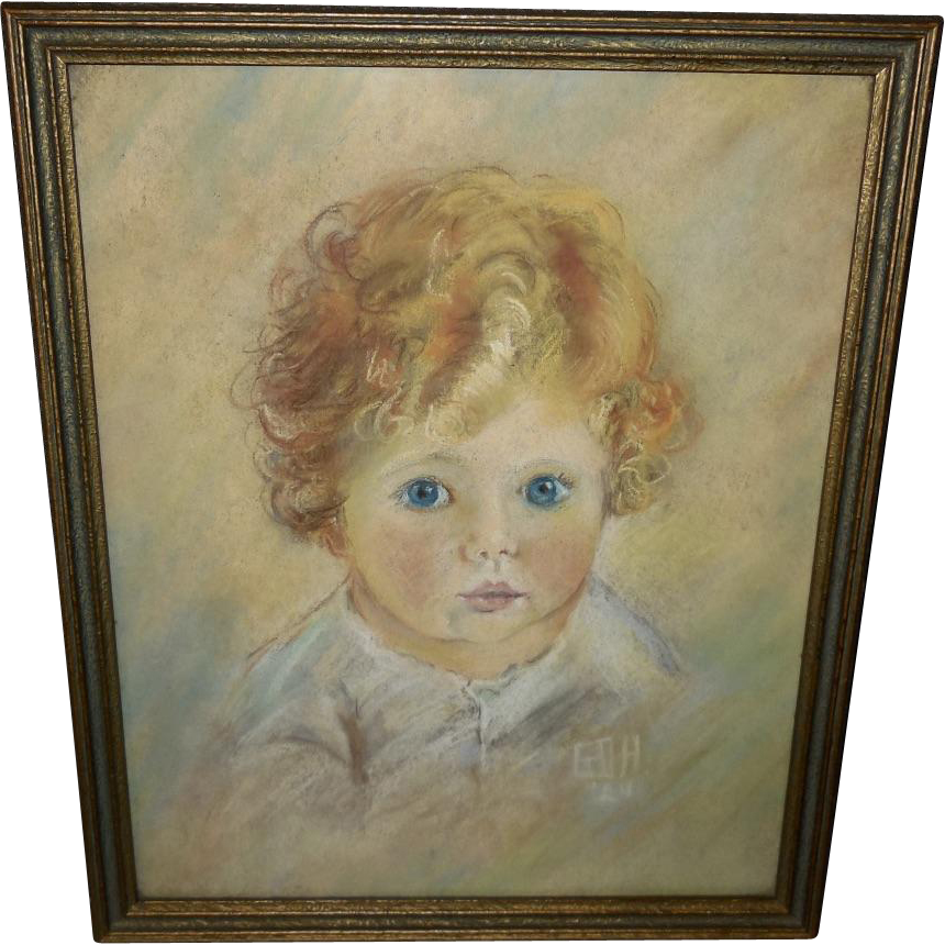Drawing pastel. Of young curly haired