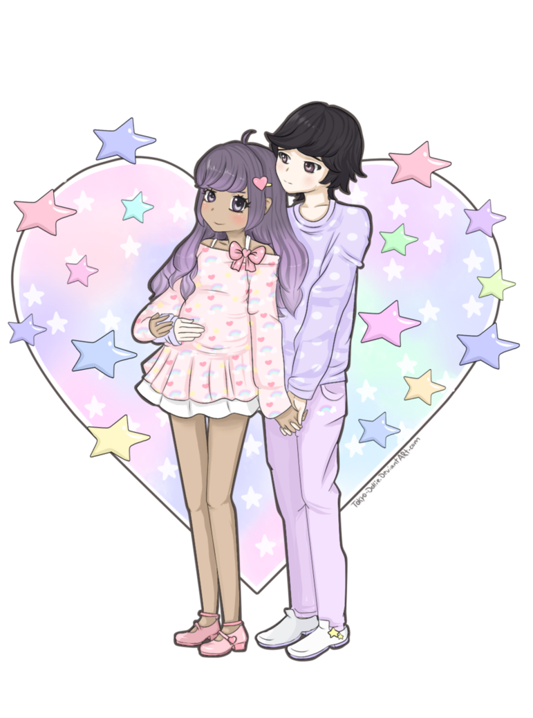 Drawing pastel cute. Commission couple for atiyyah