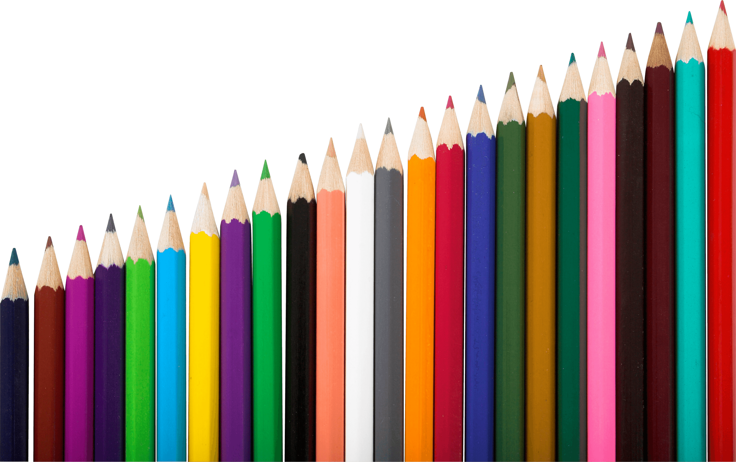 Drawing pencil png. Row of colour pencils