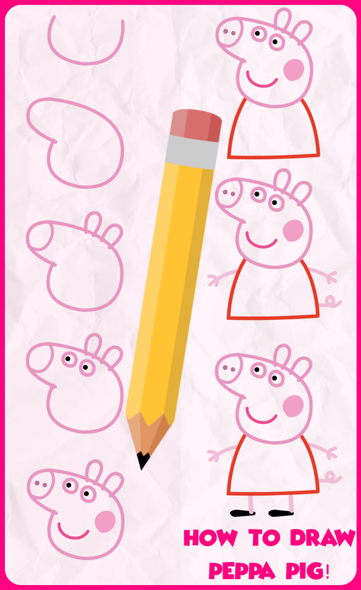 Drawing peppa pig. How to draw toddler