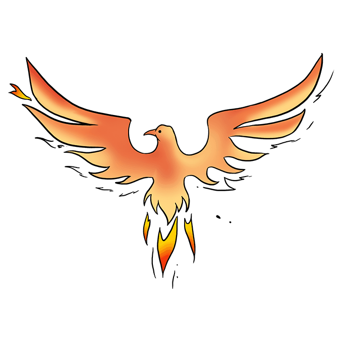 Drawing phoenix cartoon. How to draw a