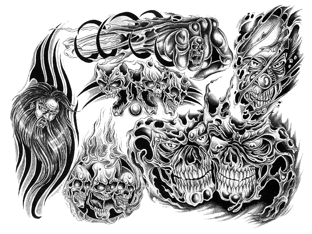 Drawing phoenix skull. Black and white tattoo