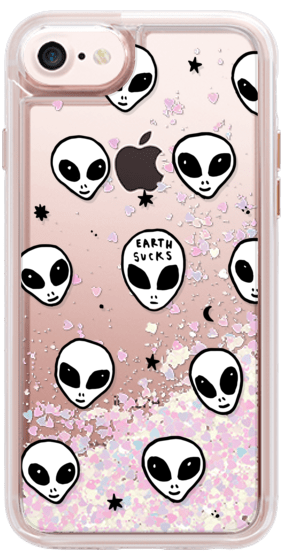Drawing phone cute. White ufo space alien