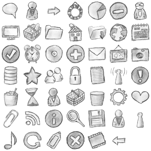 Hand free icons search. Icon drawing picture black and white stock