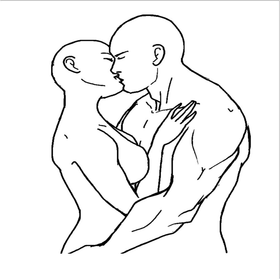 Drawing photos couple. Straight base transparent by