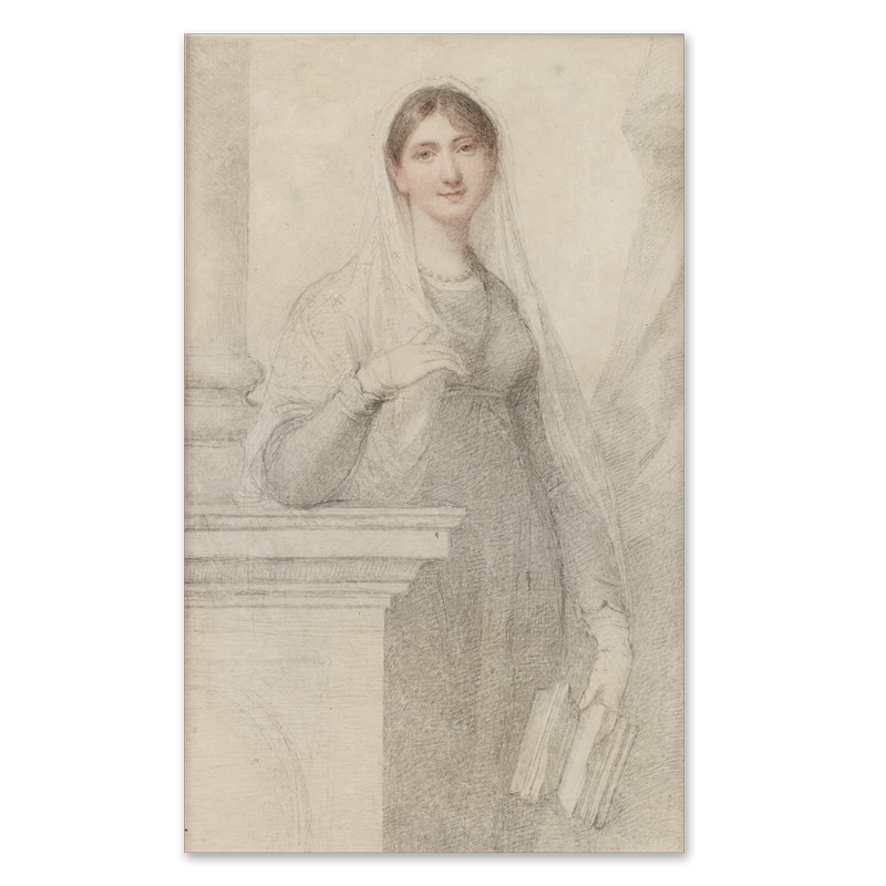 Preparatory drawing self portrait. A of young lady