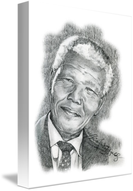 Self drawing hand drawn. Portrait of nelson mandela