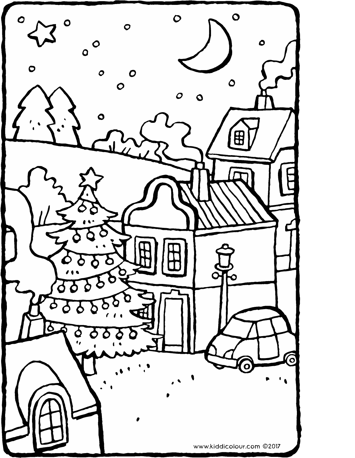 Drawing bed colouring page. Christmas tree in the