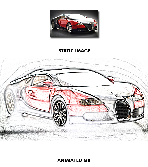 Drawing photoshop car. Gif animated sketch action