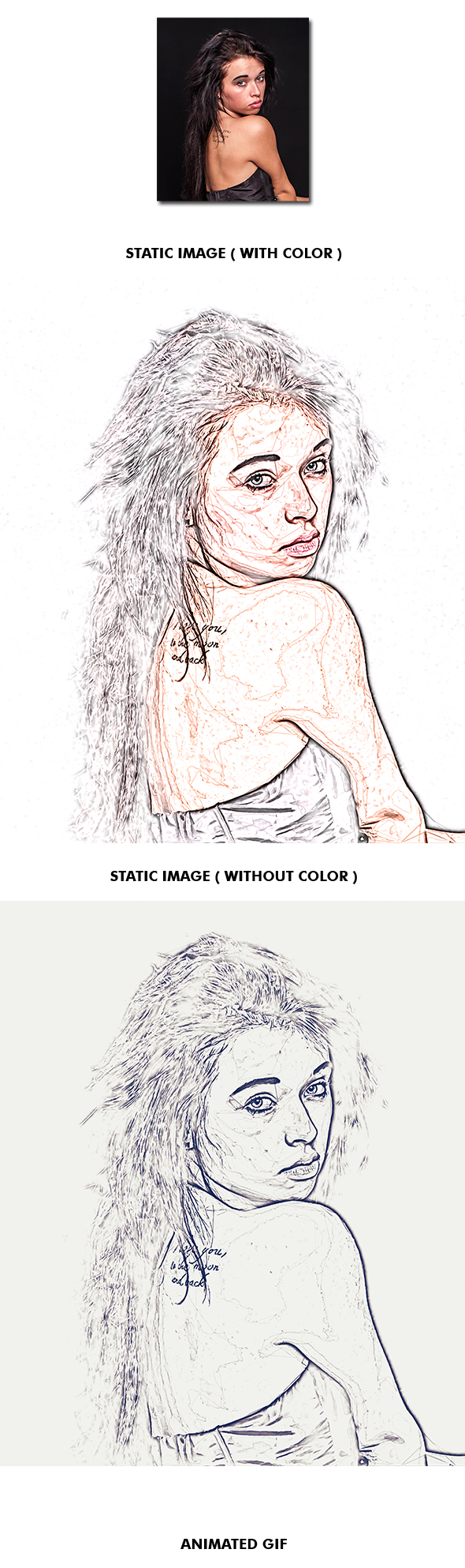 Drawing photoshop dynamic. Gif animated sketch action