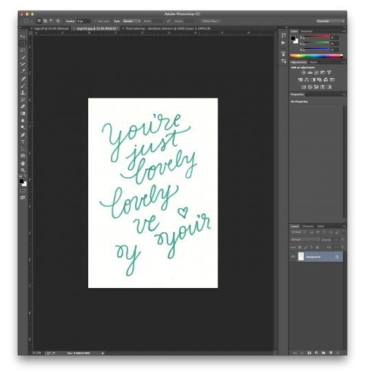 Drawing photoshop editing. Hand lettering tutorial from