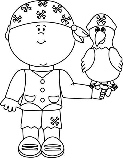 Drawing pirates black and white. Pirate with parrot