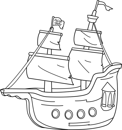 Drawing pirates black and white. Pirate ship line at