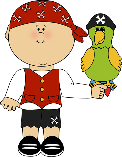 Drawing pirates boy. Pirate and parrot clip