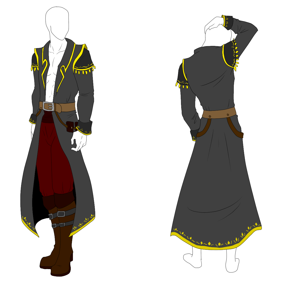 Drawing pirates clothes. Collection of pirate