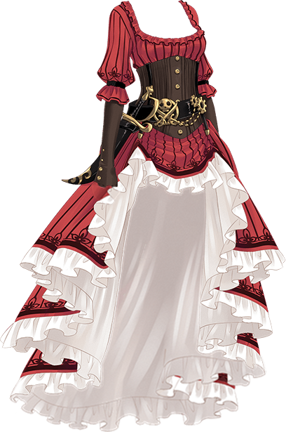 Drawing pirates clothes. Girl dress pirate long