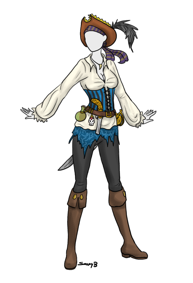Drawing pirates pirate costume. Outfit adoptable sold by