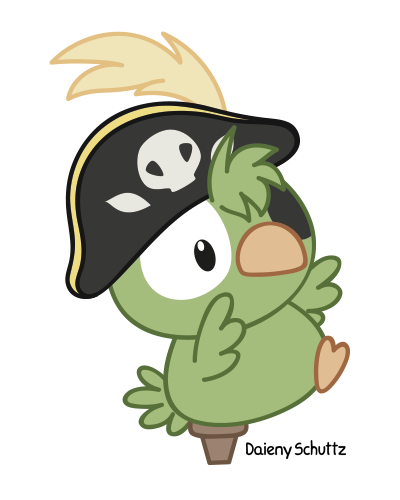 Drawing pirates pirate parrot. Art character daieny schuttz