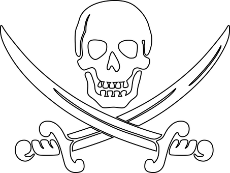 Pirate skull sword t. Drawing pirates outline clip free download