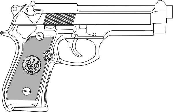 Drawing pistol 9mm. Outline clip art at