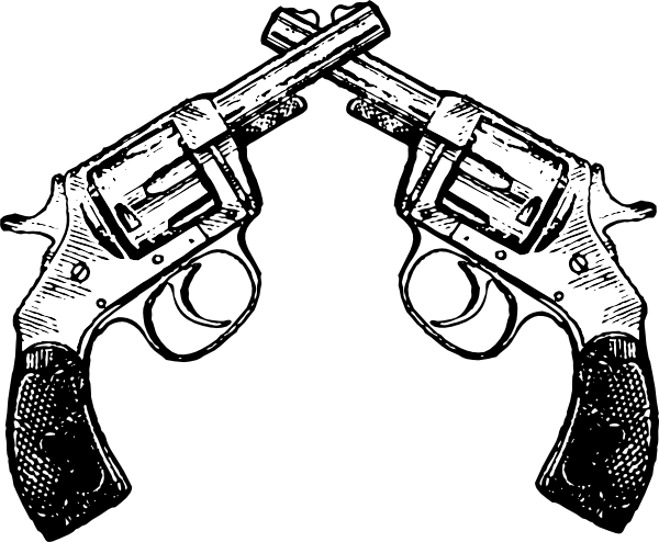 Drawing pistol old school. Crossed revolver craftables pinterest