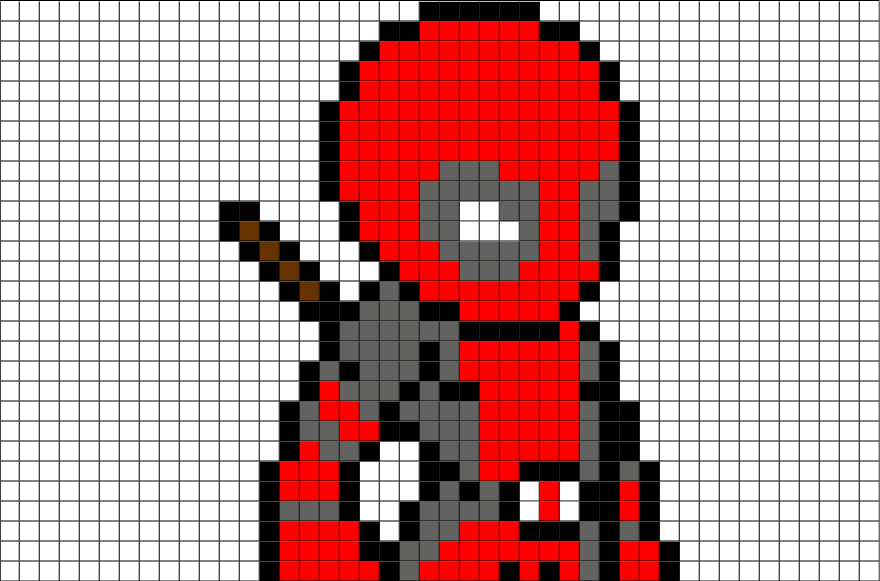 drawing-pixel-deadpool-2 Pixel Art Designs @koolgadgetz.com.info