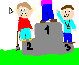 Drawing place sad. Second on podium by