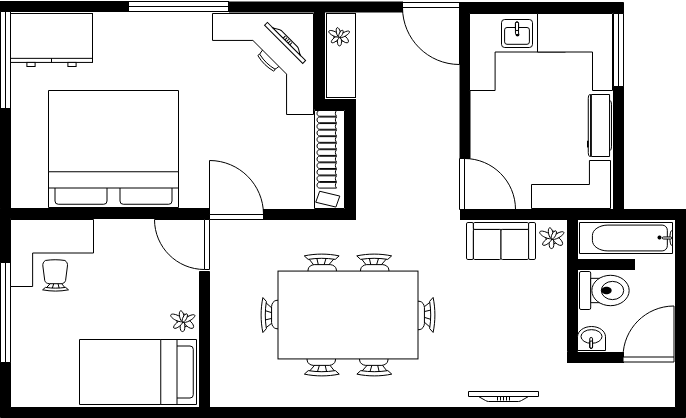 Drawing plan property. House floor example
