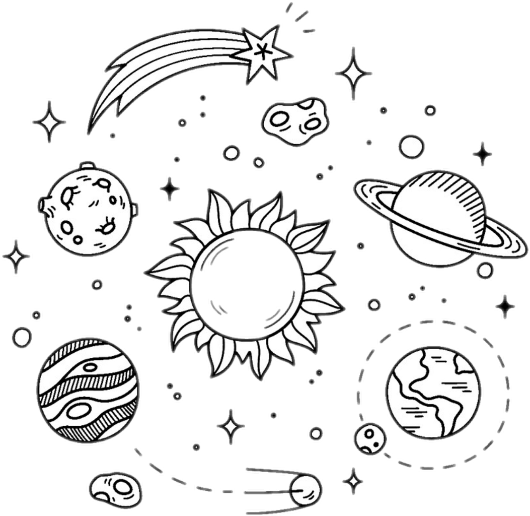 White drawing galaxy. Stars planets black overlay