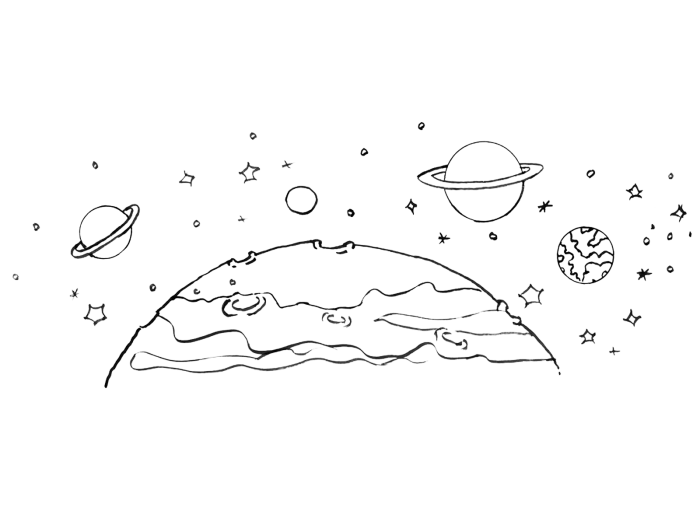 Drawing planets. Cosmos planet for