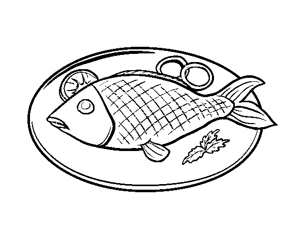 Drawing shopkins outline. Fish plate coloring page
