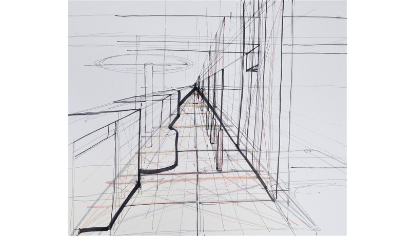 Spatial drawing design development. Build skill freehand perspective
