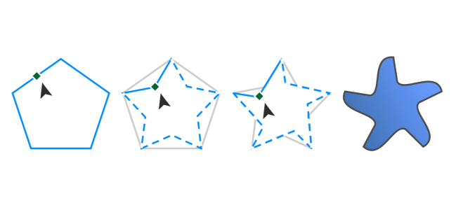 Coreldraw help and stars. Polygons drawing image royalty free stock
