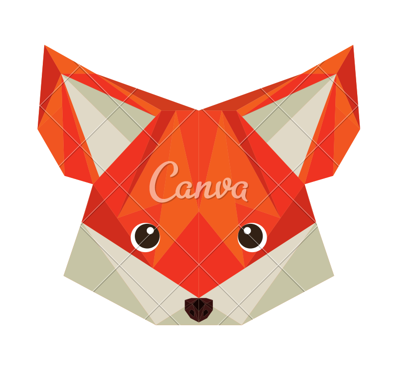 Drawing polygons origami fox. Polygon icons by canva