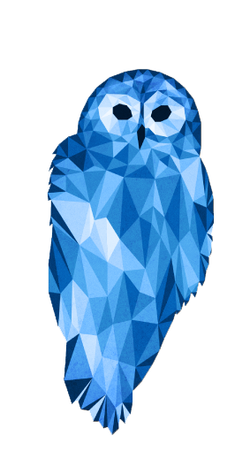 Polygons drawing husky. Polygonal animals owl art