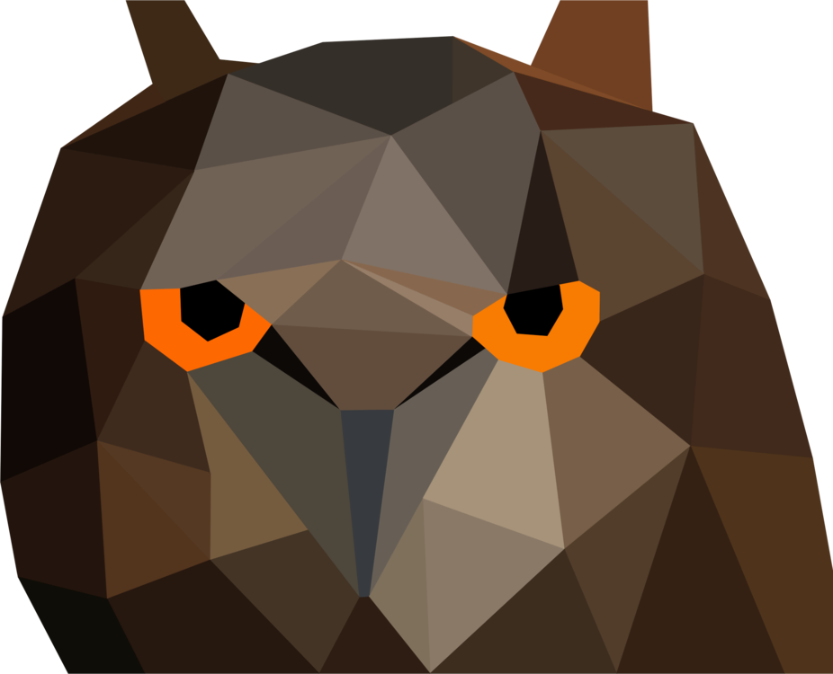 Drawing polygons owl. Low poly bird computer