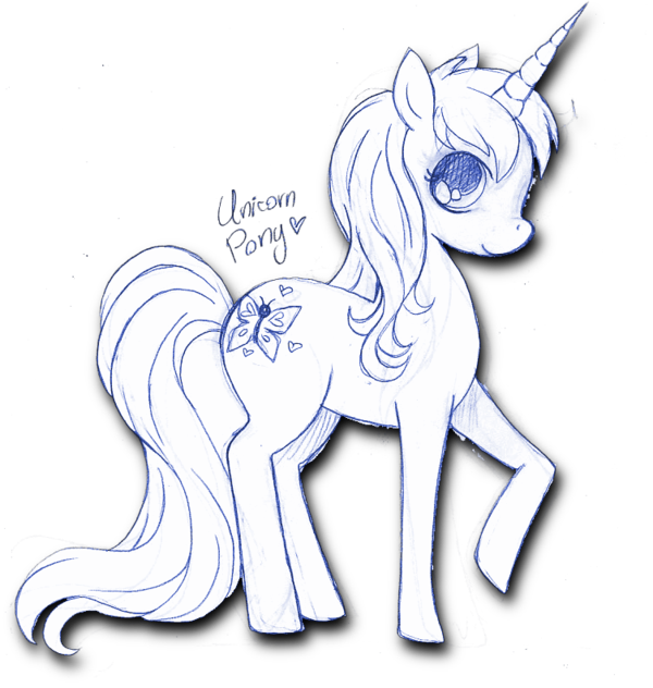 Drawing ponies anime. Unicorn pony sketch by