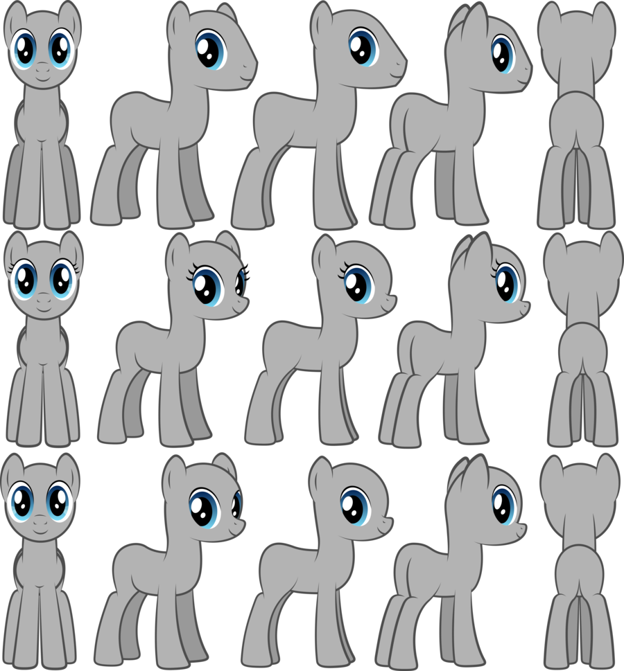 Drawing ponies poses. Different positions for