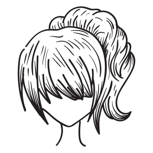 Ginger vector hand drawn. Woman ponytail hair transparent