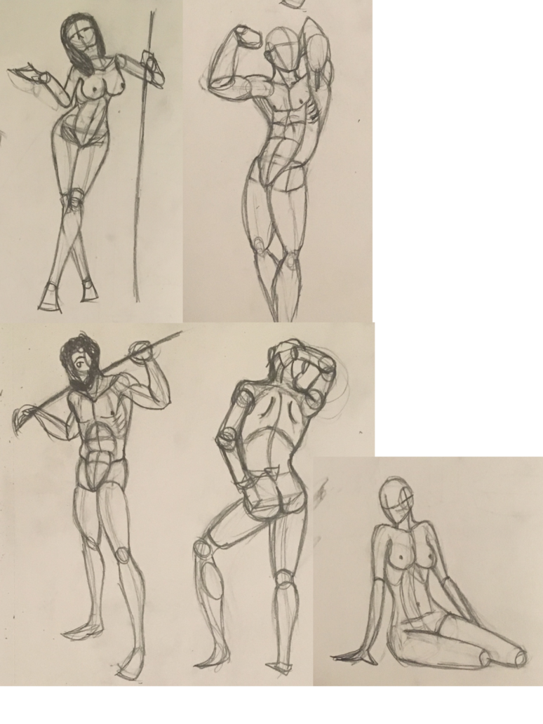 Drawing poser sketching. Body sketch dump by