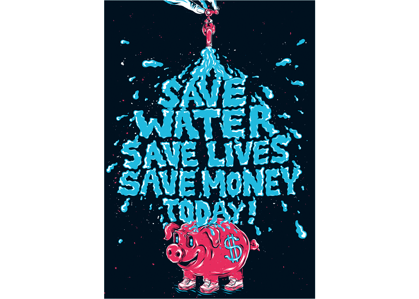 Drawing posters creative. Awards save water poster
