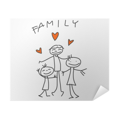 Drawing posters love. Hand cartoon happy family