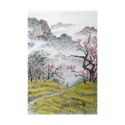 Drawing posters nature. Traditional chinese painting landscape