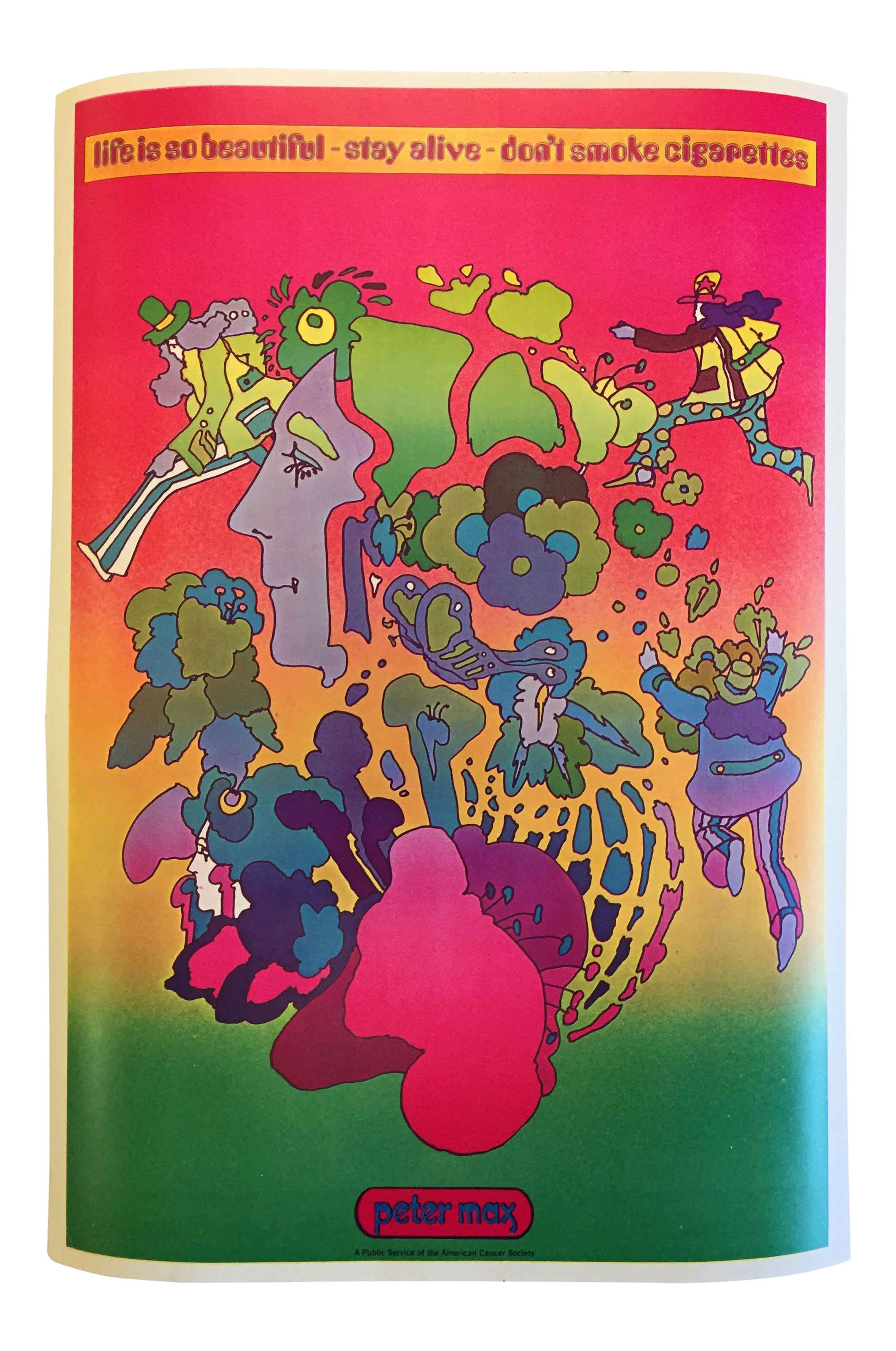 Drawing posters society. Vintage peter max american