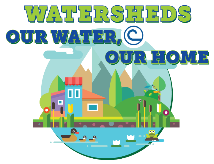 Drawing posters water. Watersheds our home