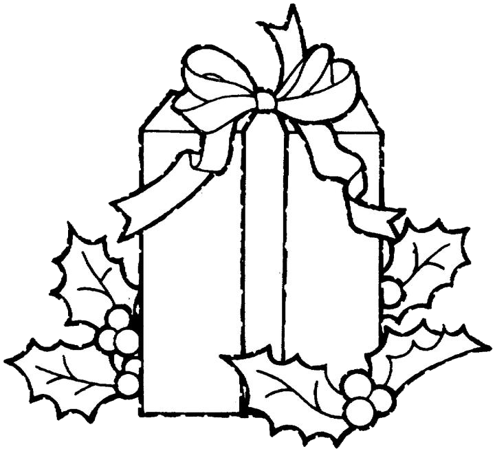 Drawing present colouring. Christmas gift coloring pages