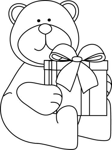 Drawing present colouring. Teddy bear holding coloring