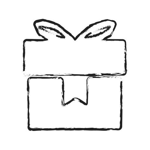 Drawing present gift box. Delivery shipping icon